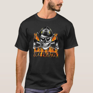 Firefighter Skull 4 and Flaming Axes T-Shirt