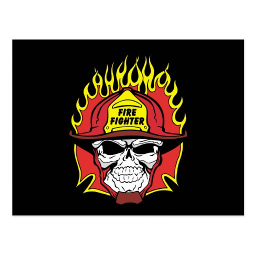 Firefighter Skull Postcard