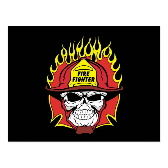 Firefighter Skull Postcard