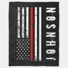 Firefighter Styled Distressed American Flag Custom Fleece Blanket