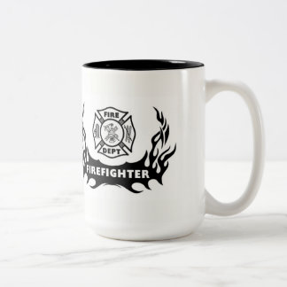 Firefighter Tattoo Two-Tone Coffee Mug