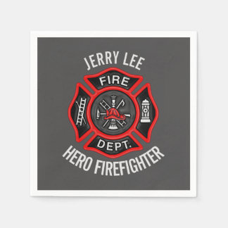 Firefighter Text Name Personalized Paper Napkin