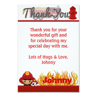 "FIREFIGHTER Thank You 3.5""x5"" (FLAT style) FF02B Card"