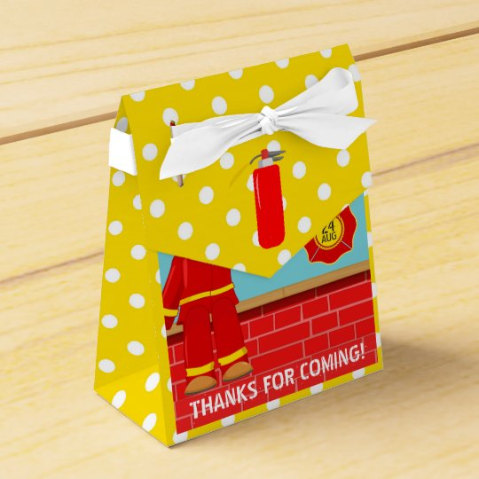 Firefighter themed Birthday Party Guest Favour Favor Box