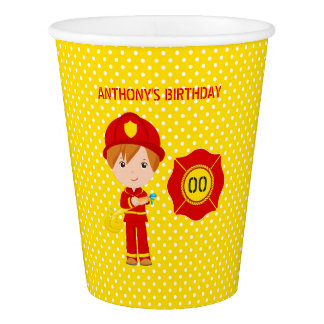 Firefighter themed Birthday Party personalized Paper Cup