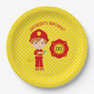 Firefighter themed Birthday Party personalized Paper Plate