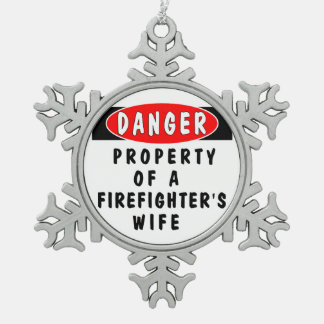 Firefighter Wife Snowflake Pewter Christmas Ornament