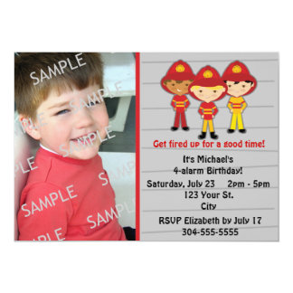 Firefighters Birthday Party 5x7 Paper Invitation Card