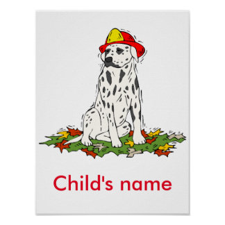Firefighters black and white speckled dog poster