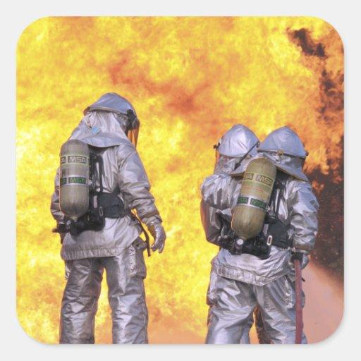 Firefighters extinguish an aircraft fire sticker