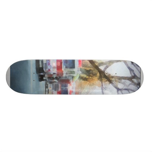 Firefighters - Line of Fire Engines in Parade Skateboard Decks