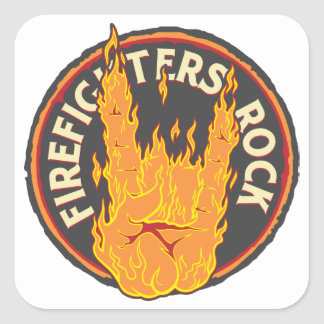 Firefighters Rock! Square Sticker
