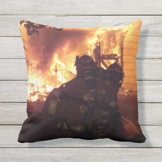 Firefighters Structure Fire Outdoor Pillow