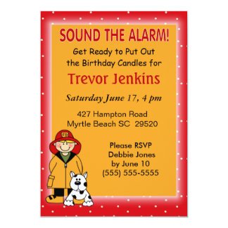 Firefighters Theme Kids Birthday Invitation