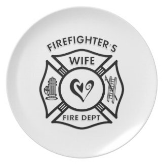 Firefighters Wife Maltese Heart Plates