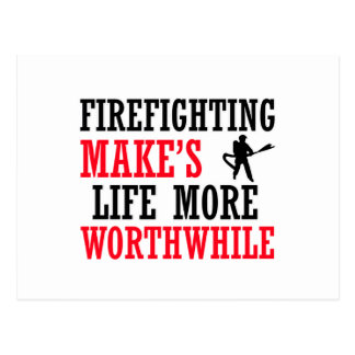 firefighting design postcard