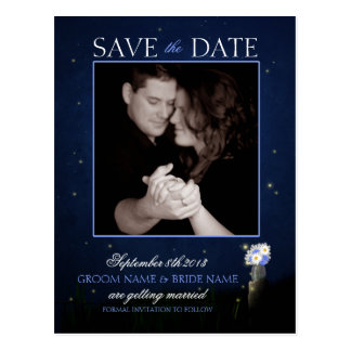 Fireflies and Mason Jar Bouquet Save the Date Post Cards