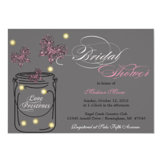 Fireflies and Mason Jar Bridal Shower - Gray Card