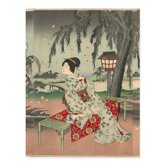 Fireflies at a country house by Toyohara Chikanobu Postcard