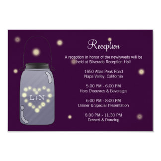 "Fireflies in Mason Jar Heart Love Reception Card 3.5"" X 5"" Invitation Card"