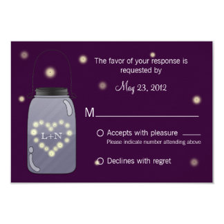 "Fireflies in Mason Jar Heart Love RSVP 3.5"" X 5"" Invitation Card"