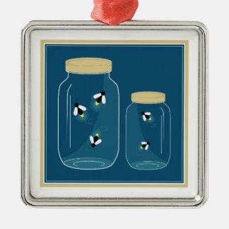 Fireflies Mason Jar Metal Ornament