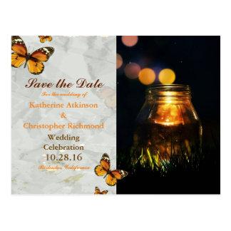 Fireflies Mason Jar Rustic Garden/butterfly theme Postcard