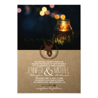 Fireflies Mason Jar Rustic Garden/deer theme Card