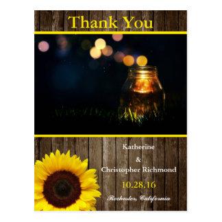 Fireflies Mason Jar Rustic Garden/sunflower theme Postcard