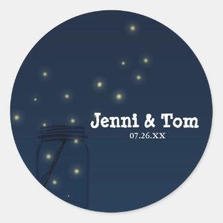 Fireflies Mason Jar Rustic Wedding Blue Stickers
