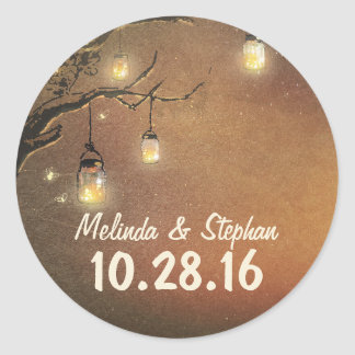Fireflies mason jars tree branches wedding sticker