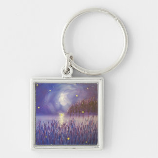 Fireflies on Silver Keychain