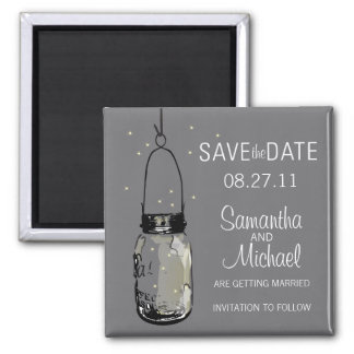 Fireflies & Vintage Mason Jar Save the Date Magnet