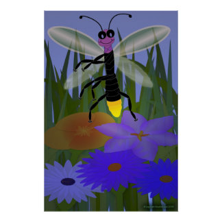 Firefly Dancing on Flowers Poster