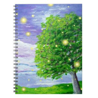 Firefly Landscape Art Spiral Notebook