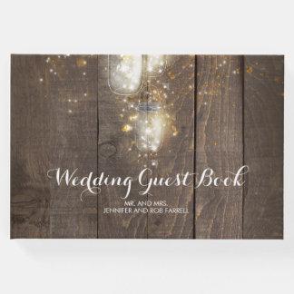 Firefly Lights Mason Jar Rustic Wedding Guest Book