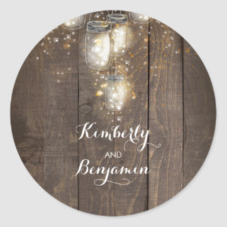 Firefly Lights Mason Jars Rustic Wedding Classic Round Sticker