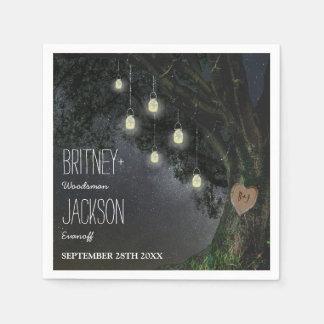 Firefly Mason Jar Oak Tree Wedding Napkins Paper Napkins
