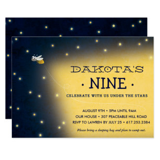 "Firefly Sleepover Birthday Invitation, Card 5"" X 7"" Invitation Card"