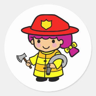 Firegirl Round Sticker