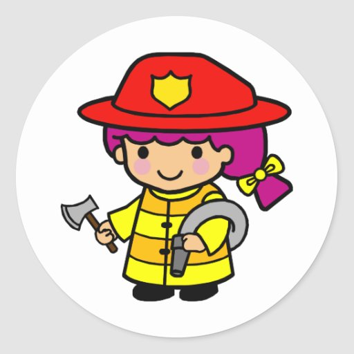 Firegirl Round Sticker