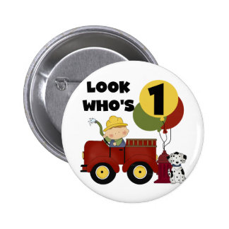 Fireman 1st Birthday Tshirts and Gifts 2 Inch Round Button