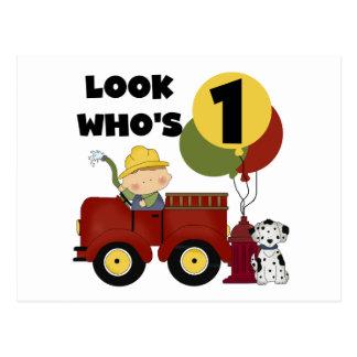 Fireman 1st Birthday Tshirts and Gifts Postcard