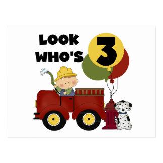 Fireman 3rd Birthday T-shirts and Gifts Postcard