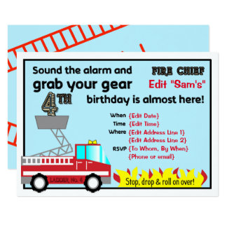 Fireman 4th birthday party invitations Firefighter