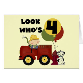 Fireman 4th Birthday Tshirts and Gifts Greeting Card