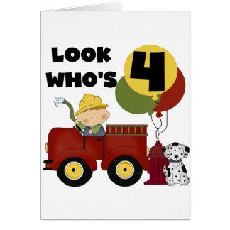 Fireman 4th Birthday Tshirts and Gifts Greeting Card