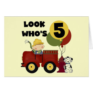 Fireman 5th Birthday T-shirts and Gifts Greeting Card