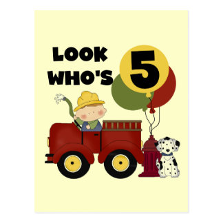Fireman 5th Birthday T-shirts and Gifts Postcards