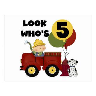 Fireman 5th Birthday T-shirts and Gifts Postcard